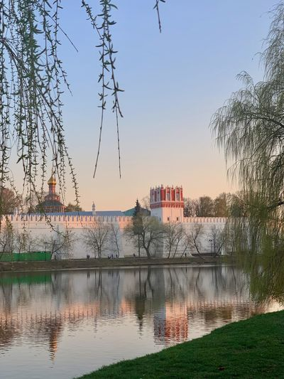 Sky Architecture Building Exterior Built Structure No People Building City Outdoors Moscow Russia Water Lake Waterfront Sunset Beauty In Nature Nature Reflection Novodevichy Monastery Russian Architecture Novodevichy Ponds Park The Traveler - 2019 EyeEm Awards The Mobile Photographer - 2019 EyeEm Awards