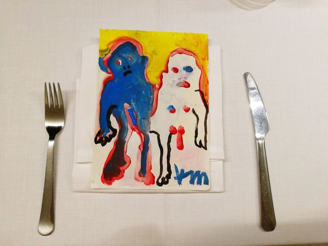 Female Artist Woman Painting Acrylic Canvas Art Lifestyles ArtWork Kunst Indoors  Close-up No People Day Table Tablecloth Fork Knife Dinner