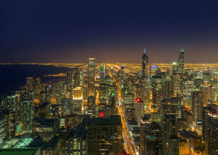 Chicago City, Chicago, illinois, USA Chicago Illinois Michigan Skyscrapers Aerial View Architecture Building Exterior Buildings Built Structure City Cityscape Downtown Illuminated Lake Modern Night No People Outdoors Residential  Sky Skyscraper Travel Destinations Urban Skyline