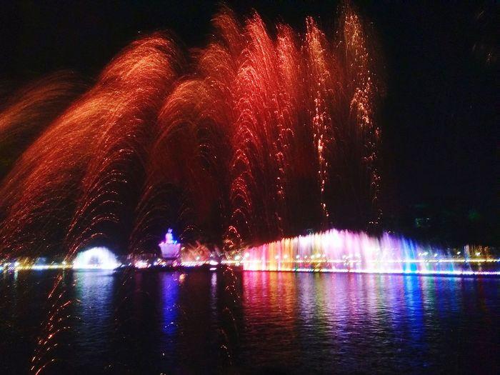 Sri Baduga Fountain, Purwakarta, Indonesia Fountain Fountain Show Water Firework Display Motion Reflection
