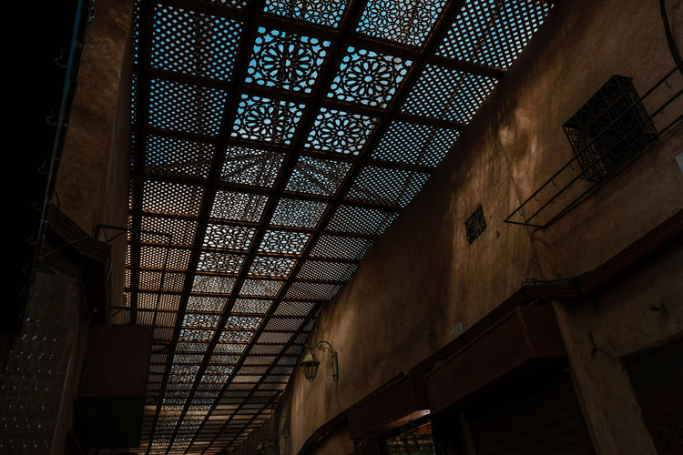 Marrakesh Marrakech Morroco Architecture Low Angle View Built Structure Indoors  Ceiling No People Pattern Skylight Sunlight Day Old Illuminated Souk Old Town Embellished Embellishment Tourist Destination