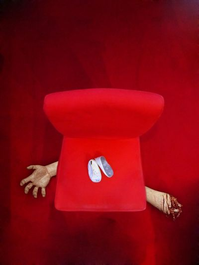 """Hungey baby"" Red Chair Shoes Hand Arm Fingers BLOODY Meat Hungry Baby Food Food Porn Zombie Escape Creepy Scary Haunted Angry Nasty Photo Belanglose Bilder Unaffected Images"