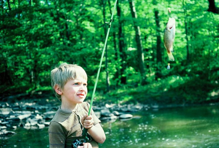 Nature Fishing Nice Catch Stream Outdoors Trees Water