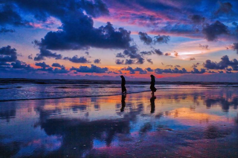 Bangladesh Colors Friends Reflection Beach Beauty In Nature Cloud - Sky Colorful Cox's Bazar Day Horizon Over Water Nature Outdoors Real People Reflection Reflections Scenics Sea Silhouette Sky Sunset Tranquil Scene Tranquility Two People Water
