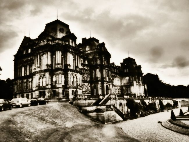 The Bowes Museum Architecture Built Structure Building Exterior Transportation Car Street Sky Cloud Outdoors History Cloud - Sky Day In Front Of Cloudy The Way Forward Surface Level Showcase August 2016 POTD Popular Photographs Architecture