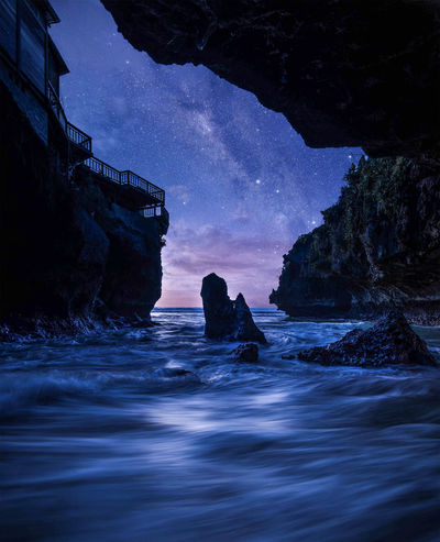 night view INDONESIA Landscape Travel Destinations Nightphotography Night Lights Night View Travel Photography Milkyway Galaxy Star Star - Space Stars Night Nature Wave Water Traveling Sky Nightsky Rock Space And Astronomy Astrology Space Space Exploration