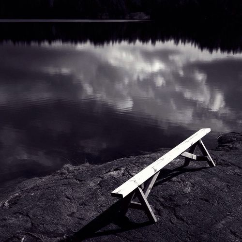Lonely bench by the lake Calmwater Nature_collection MADE IN SWEDEN Lake View Blackandwhite Bw_nature