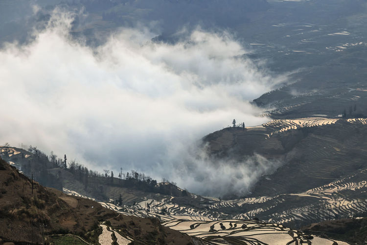 Scenic View Of Rice Terraces At Yuanyang County During Foggy Weather