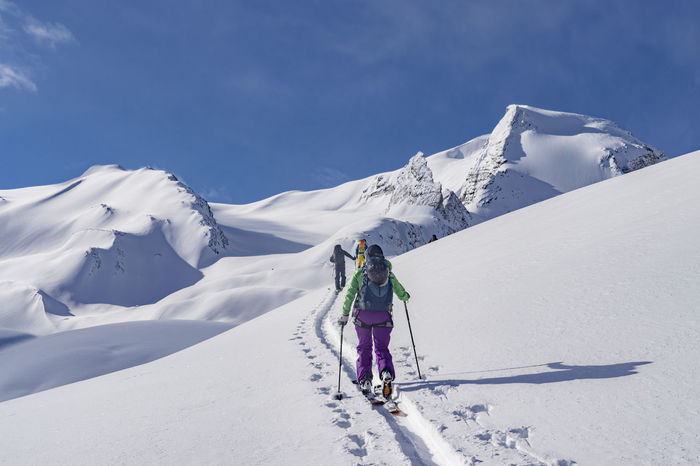 Adventure Alpine Ascending Backcountry Backcountry Skiing Climbing Fresh Fresh Powder Leisure Activity Lifestyles Mountain Powder Real People Rear View Remote Ski Ski Holiday Skiing Sky Snow Snowcapped Mountain Sunlight Untracked Vacations Winter The Great Outdoors - 2017 EyeEm Awards