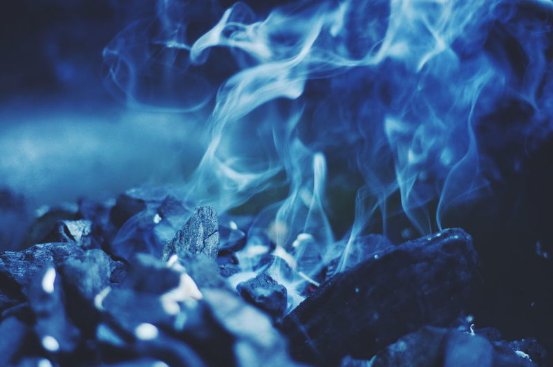 Close-up of smoke and coal