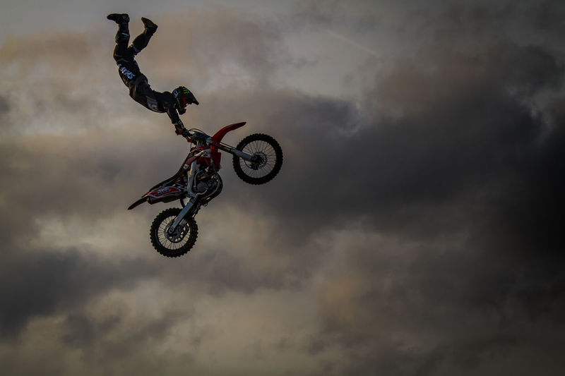 Cloudy FMX Mid-air Motorcross  Motorcycle Motorcycle Photography Motorcycle Stunts Outdoors Sky Stunt