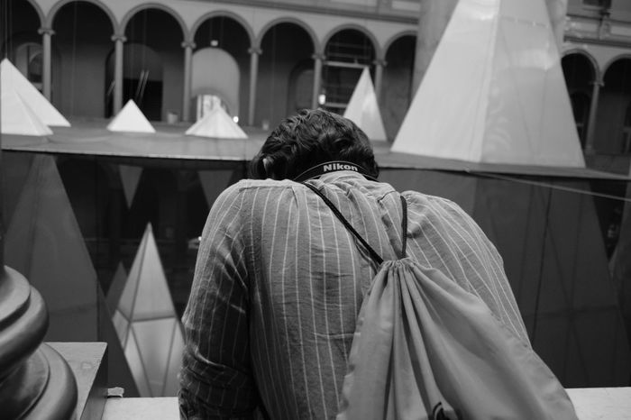 Bestfriend Blackandwhite Indoors  Looking Down From Above Male Rear View Waist Up