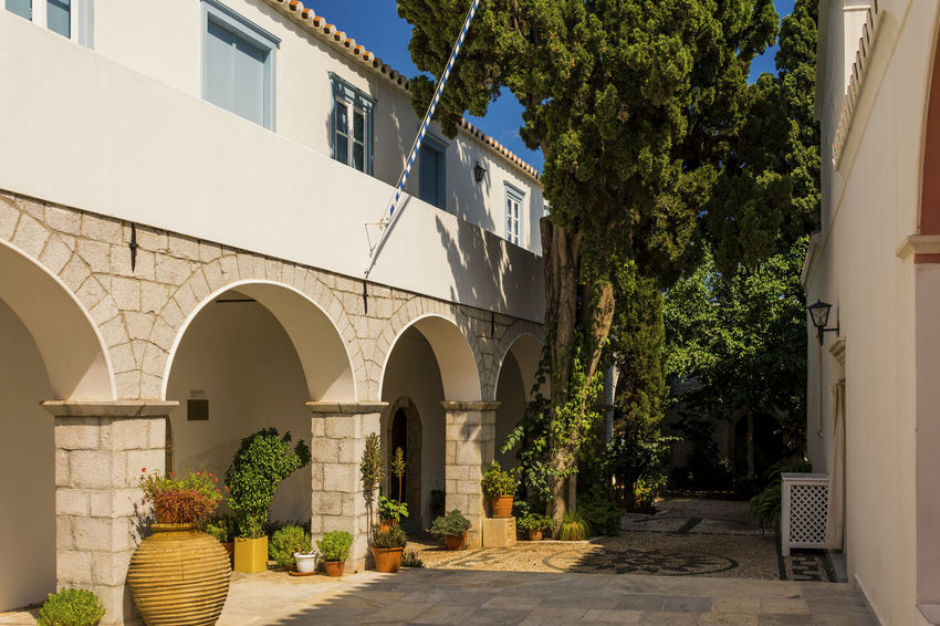 museum of local history Arch Architectural Column Architecture Building Exterior Built Structure Day Holidays Island Mediterranean  Mediterranean Sea Museum No People Outdoors Peloponnese Greece Sky Spetses Tree