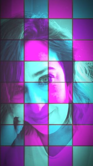 Multiple Image Pixelated Multi Colored Human Eye Young Women Studio Shot Pink Color Purple Vibrant Color Close-up