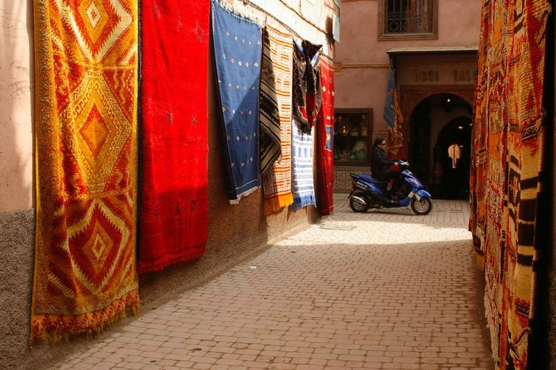 Marakesh Morocco street with carpet bagger! Carpet Morocco Colour Of Life Street Photography Street Life