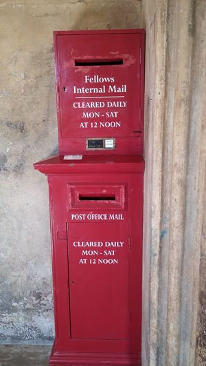 Cambridge University Cambridge Post Postbox Fellows Internal Mail Lostintransit