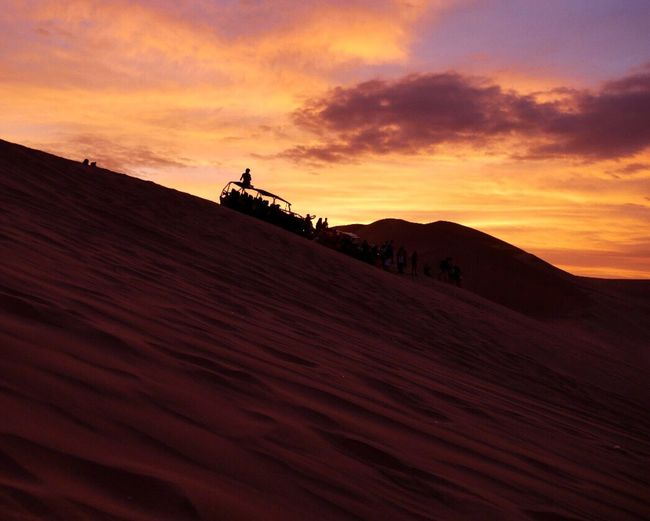 Sunset Landscape Silhouette Scenics Desert Sand Dune Beauty In Nature Travel Destinations Outdoors Adventure Awaits in Huacachina , Peru