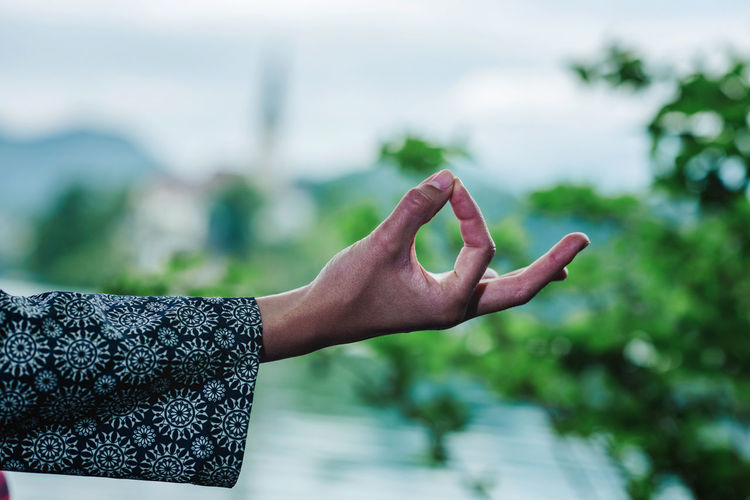 Cropped image of hand doing mudra
