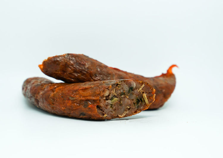 Lanna sausage, Thai spicy sausage on white background Sai Ua Spicy Food Thai Sausage Close-up Copy Space Cut Out Food Food And Drink Freshness Healthy Eating Indoors  Isolated White Background Lanna Food Lanna Sausage Meat No People Sausage Single Object Spicy Sausage Still Life Studio Shot Thai Food Thaifood Wellbeing White Background
