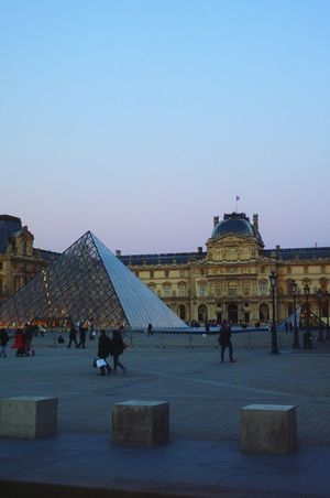 Travel Architecture Tourism City Travel Destinations Built Structure History Large Group Of People Sky Pyramid Outdoors Day Louvre Paris, France  People