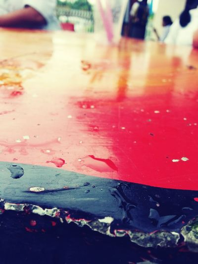 First Eyeem Photo Water Wet Rain Red Outdoors No People Street Car Close-up Red Water Pink Damaged Outdoors Day Focus On Foreground No People Peeling Off Vibrant Color