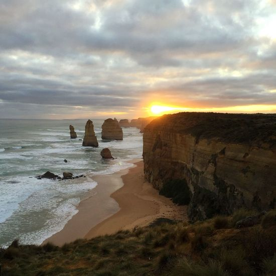 One of the most beautiful scenery I've ever seen Twelve Apostles Sea Sunset Perfectmoment Landmark Greatoceanroad Victoria Australia Travel first eyeem photo
