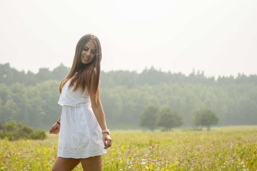 Happy Nature Beautiful Woman Beauty Casual Clothing Day Fashion Field Focus On Foreground Hair Hairstyle Land Landscape Leisure Activity Lifestyles Long Hair One Person Plant Real People Standing Three Quarter Length Tree Wahnerheide Young Adult Young Women