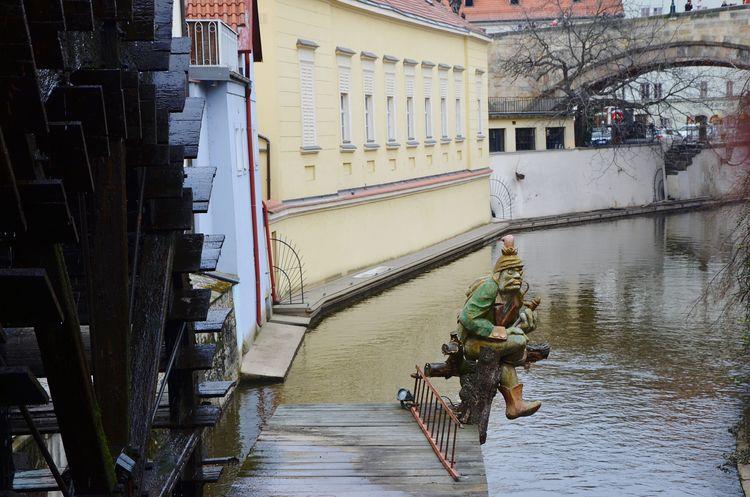 Prague Praha Czech Republic Goblin Water River Wheel Ladder Traveling Sightseeing Mala Strana  Certovka Bridge Houses Charlesbridge Charles Bridge The Secret Spaces