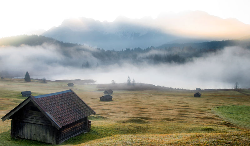Fog Environment Scenics - Nature Nature Land Sky Landscape Beauty In Nature Plant Mountain Architecture Tranquil Scene Tranquility No People Field Day Building Exterior Grass Outdoors Built Structure