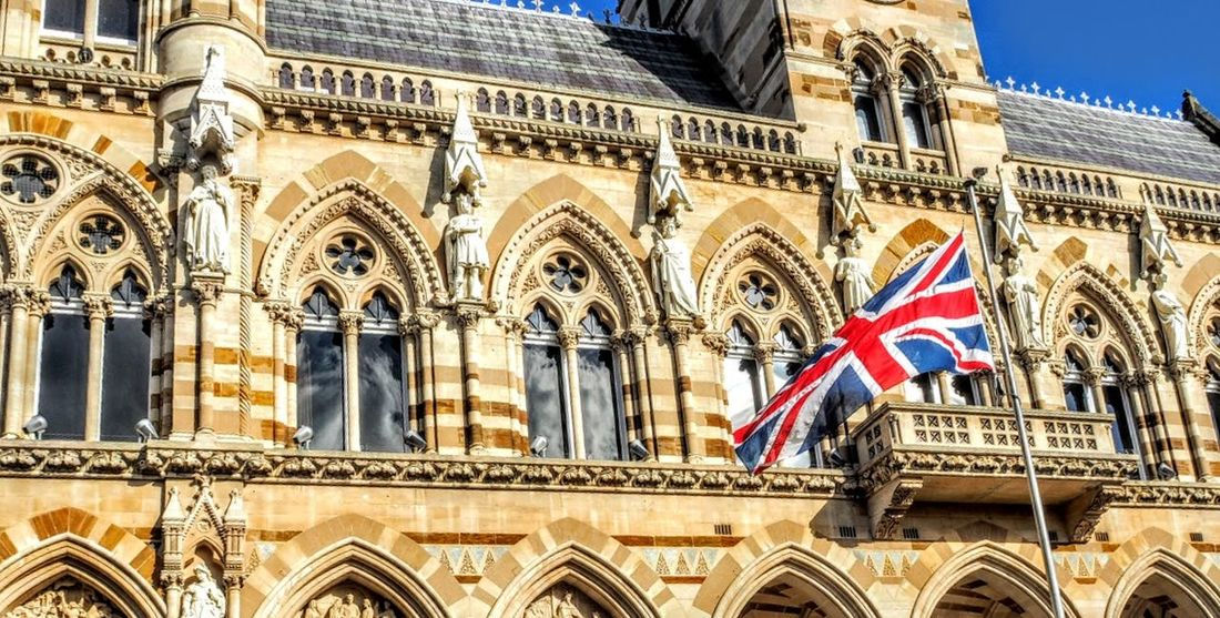 Land Of Hope and Brexit Architecture Building Exterior Built Structure City City Life Flag Glorius Future Government Building Historic History Low Angle View National Flag Sculpture Statue Tourism Town Hall Town Hall Square Union Flag Window