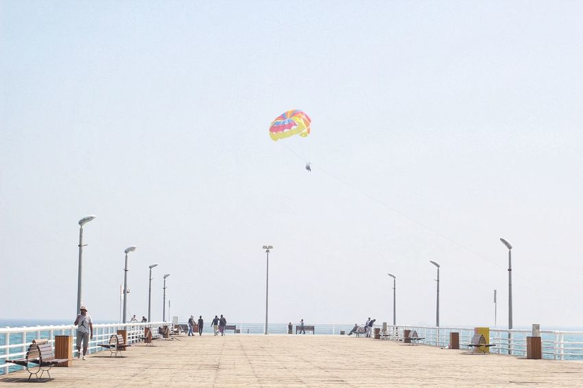 Where have you gone without me ? Beach Outdoors Sea Day Real People Leisure Activity Water Flying Clear Sky Parachute Sky Nature Beauty In Nature Adventure