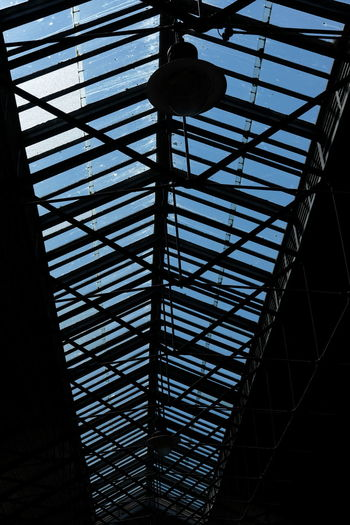 victorian railway glass ceiling in Scarborough Glass Roof Roof Architecture Cast Iron Cast Iron Frame Day Indoors  Low Angle View No People Railway Station Silhouette Station Ceiling Station Roof