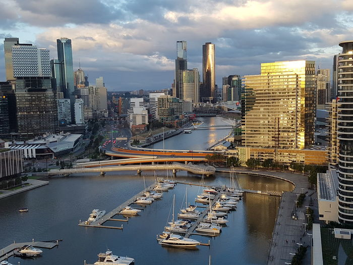 Taking Photos of the city of Melbourne CBD, Victoria, Australia at 1730 hours Australian Eastern standard time on Saturday 20 August 2016 looking from the West down the Yarra River towards the East just before sunset First Eyeem Photo