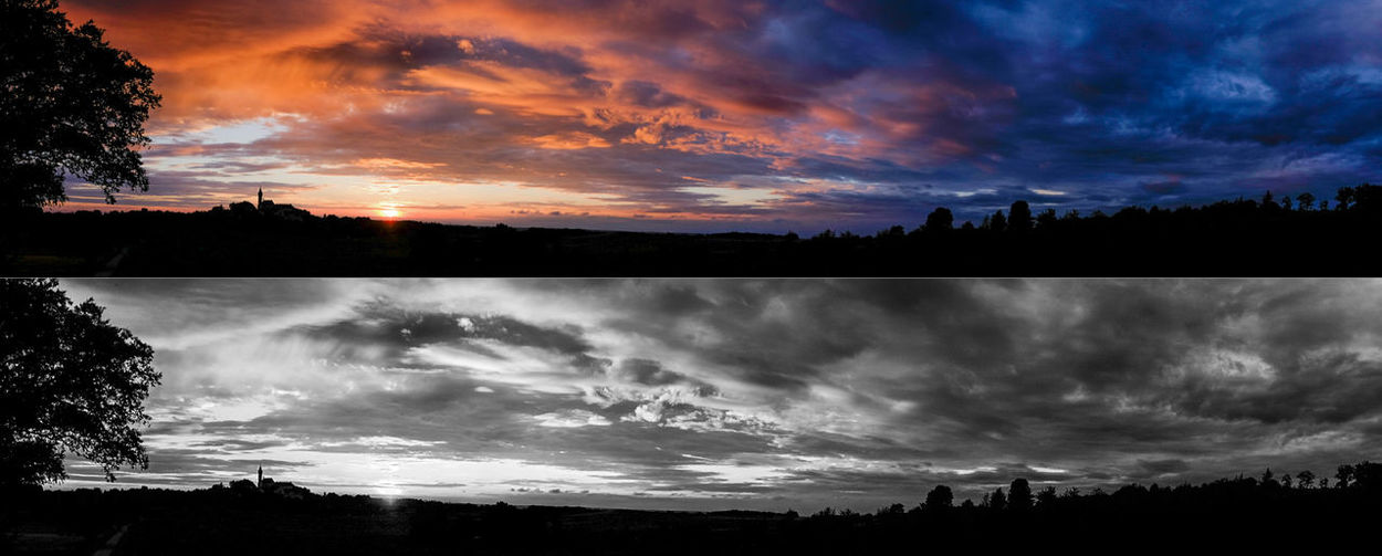 black & white or not ? Atmosphere Black And White Cloud Cloud - Sky Cloudy Dramatic Sky No People Orange Color Outdoors Silhouette Sky Sunset Blue Color Landscape_photography landscape Panoramic Photography pano