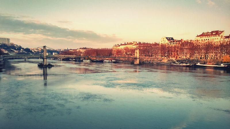 Lyon Saone River River View Cityscape Bridge Sky