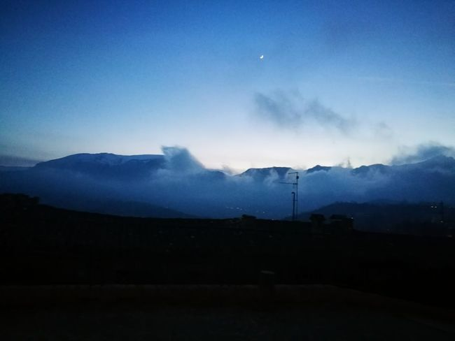 Night Mountain Moon Landscape Nature Sky Beauty In Nature Winter Blue Outdoors Fog No People