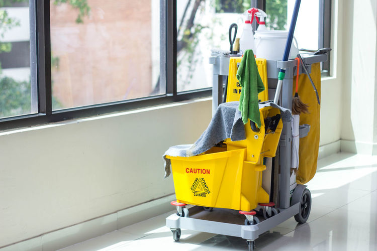 Cleaning equipment on floor at home
