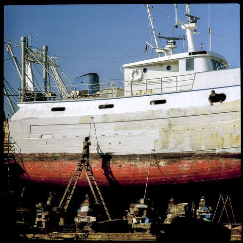 Boat Dry Docks Fishing Boat Harbor Italia Mazara Del Vallo Painter Painting Repair Sicily Stair