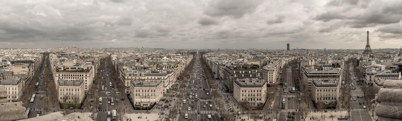 Champs-Élysées  Panorama Arc De Triomphe Architecture Building Exterior Built Structure City Cityscape Cloud - Sky Crowded Day Eiffel Outdoors Panoramic Photography Paris Panorama Sky