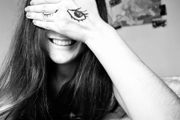 Adult Black And White Close-up Covering Eyes Day Hair Horizontal Human Body Part Human Face Human Hair Long Hair One Person People Person Portrait Real People Smiling Touching Young Adult Young Women