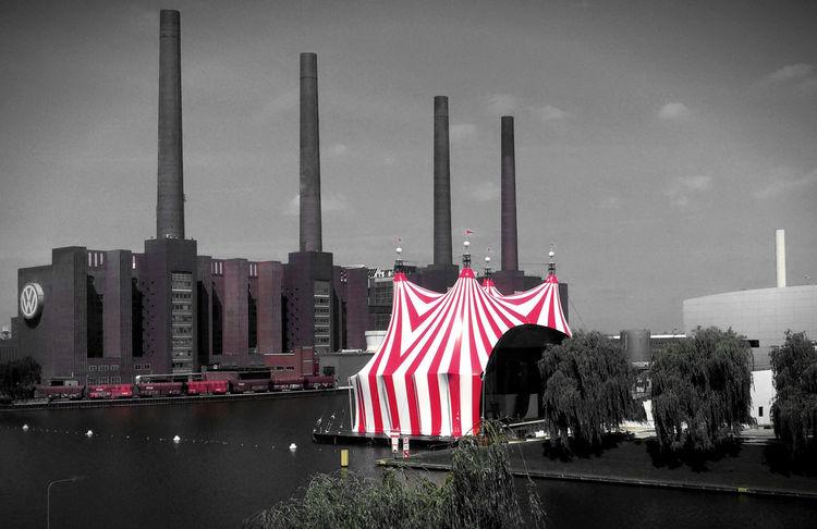 Autostadt Circus Cirkus Culture Factory Multi Colored No People Outdoors Rainy Days Red Sky Skyporn VW Wolfsburg Zirkus