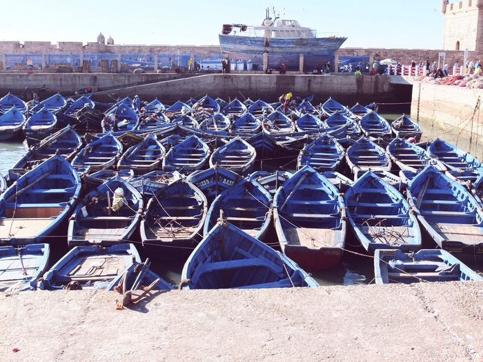 Everything is blue ⚓️🌀 Morocco Essaouira Port Harbour Blue Boat Water Ocean Sea Sea And Sky Taking Photos Check This Out EyeEm Best Shots First Eyeem Photo