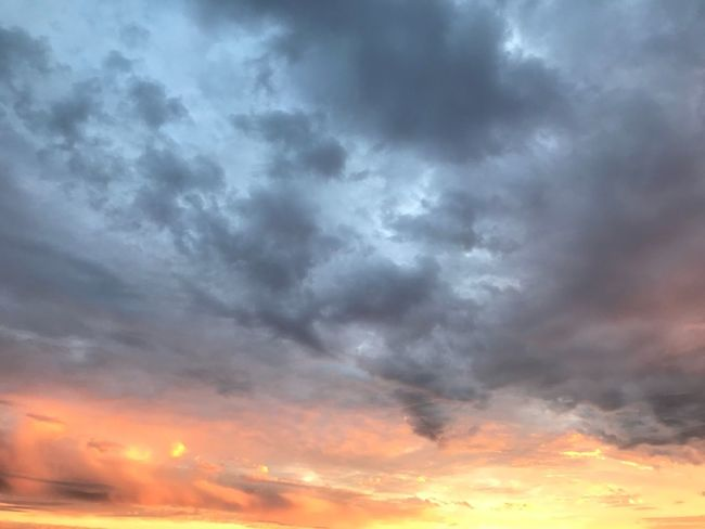 Cloud - Sky Beauty In Nature Sunset Sky Nature Dramatic Sky Cloudscape Scenics Majestic Atmospheric Mood Weather Sky Only Tranquil Scene Backgrounds Tranquility Orange Color Storm Cloud No People Idyllic Low Angle View