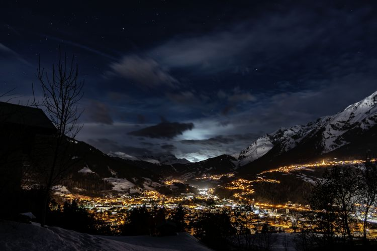 Landeck Trams Tirol  Tyrol Sky Night Cloud - Sky Scenics - Nature Mountain Beauty In Nature Nature No People Tranquil Scene Tree Illuminated Tranquility Winter Cold Temperature Star - Space Environment Snow Plant Architecture Astronomy Mountain Range Outdoors Snowcapped Mountain My Best Photo