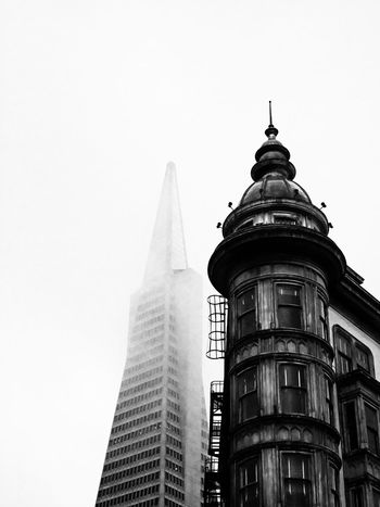 Black And White San Francisco Columbus Tower Sentinel Building Icons Transamerica Pyramid Fog North Beach Amazing Architecture Shades Of Grey Black And White Friday