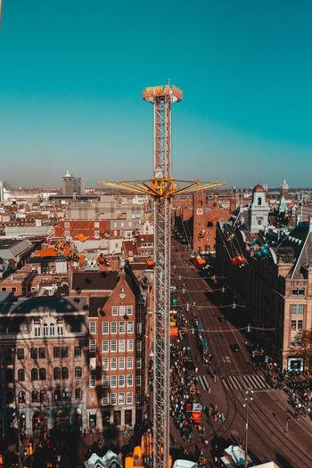 Sky High Angle View Fair Roller Coaster Entertainment Fun Fairground Amusement Park Amsterdam