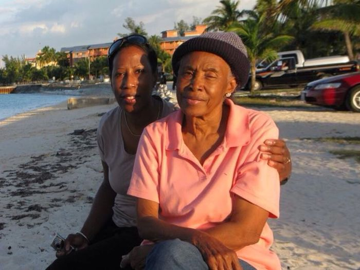 Aunt Brenda and me on he beach