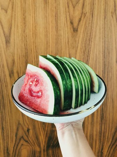 Watermelon Fresh Fruit Fruit Cut Watermelon Watermelon Food And Drink Freshness Food Human Body Part Plate Sweet Food Wood - Material