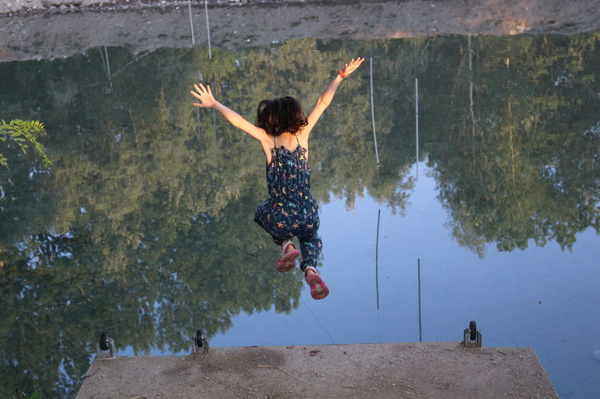 River Riverscape River View Jumping Jump Onepersononly Girls Beautiful People Beautyinnature  Littlewoman Reflection Reflex Canon Canoneos700d First Eyeem Photo Real People Nofilter Noedit Photography