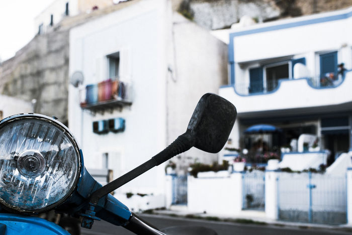 Mediterranean  Motorcycle Ponza Vespa Architecture Blue Building Exterior Built Structure Close-up Day Focus On Foreground Headlight Italian Holiday Italy Land Vehicle Mode Of Transport No People Outdoors Transportation